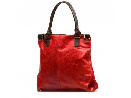 Kožená shopper kabelka Susanna červená