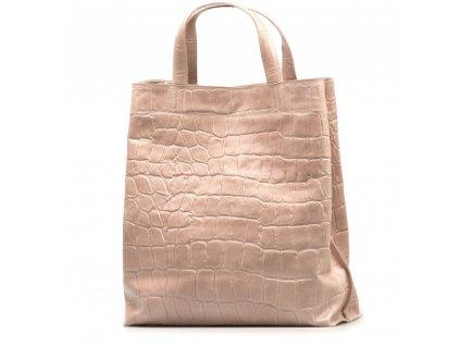 Kožená shopper kabelka Rosan růžová