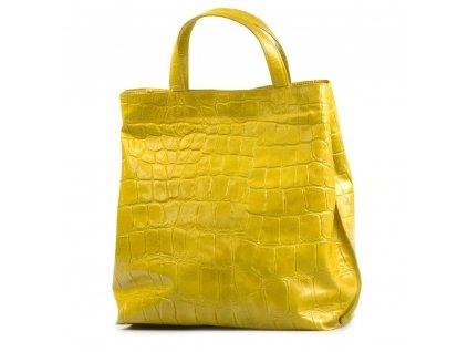 Kožená shopper kabelka Rosan žlutá