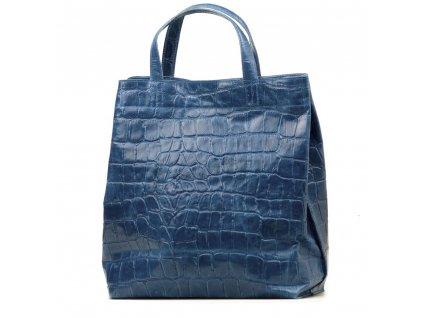 Kožená shopper kabelka Rosan džínově modrá