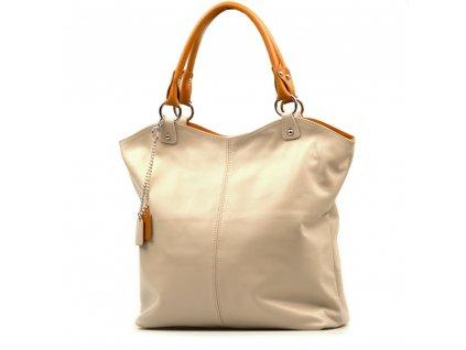 Kožená shopper kabelka Oresta béžová