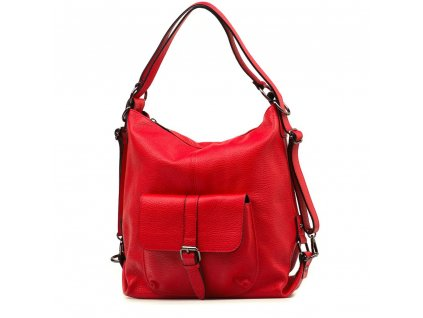 Kožená kabelka - batůžek Telica červená