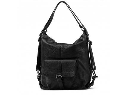 Kožená kabelka - batůžek Telica černá