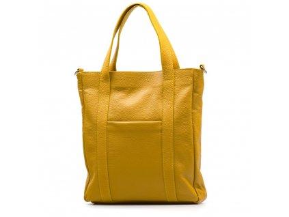 Kožená shopper kabelka Elaide hořčicově žlutá