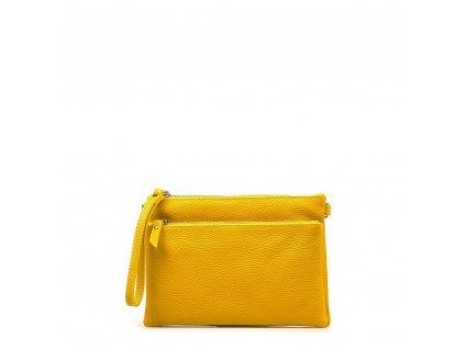 Kožená crossbody kabelka - psaníčko Claudia žlutá