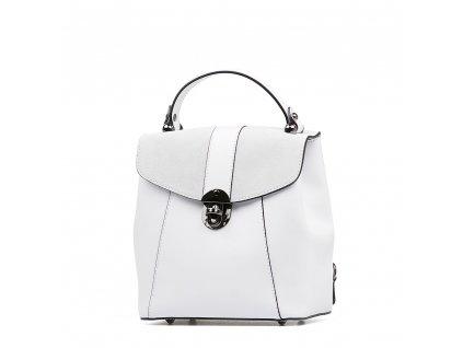 Kožená kabelka - batůžek Gil bílá