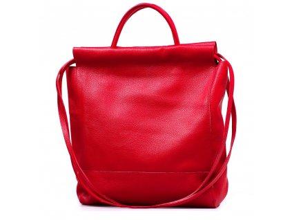 Kožená maxi shopper kabelka Fedra červená