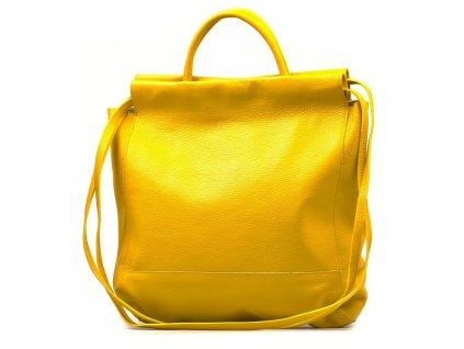 Kožená maxi shopper kabelka Fedra žlutá