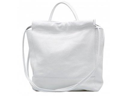 Kožená maxi shopper kabelka Fedra bílá