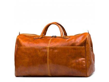 Kožená cestovní taška  Milva koňakově hnědá