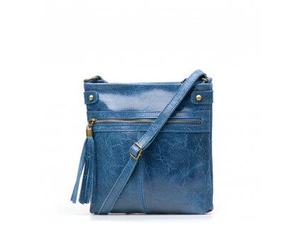 Kožená crossbody kabelka Calvina džínově modrá