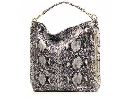 Kožená kabelka Ghita s motivem šedá