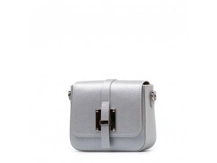Kožená crossbody kabelka Emily stříbrná