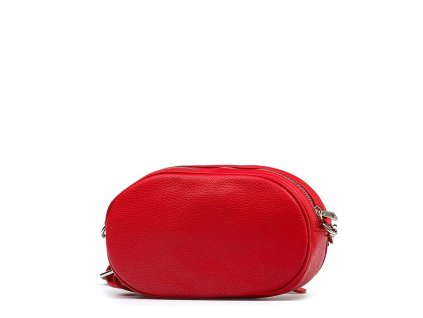 Kožená ledvinka - crossbody kabelka Michela červená