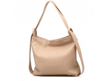 Kožená kabelka - batůžek Giada pudrově růžová