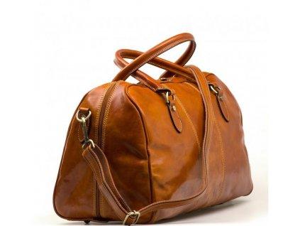 Kožená cestovní taška Verity koňakově hnědá