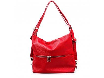 Kožená kabelka - batůžek Ivora červená