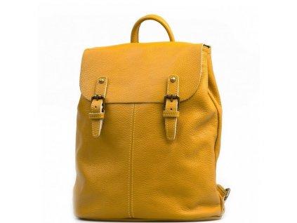 Kožený batůžek Clea hořčicově žlutý