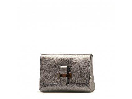 Kožená kabelka Ofra kovově stříbrná