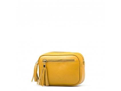Kožená crossbody kabelka Gina hořčicově žlutá