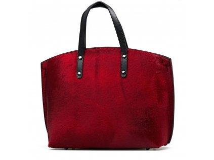 Kožená kabelka s kožešinou Ruby vínově červená