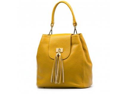 Kožená kabelka Sergia hořčicově žlutá