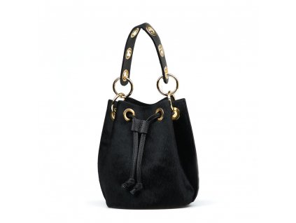 Kožená kabelka s kožešinou Conny černá