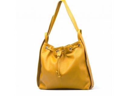 Kožená kabelka - batůžek Saba hořčicově žlutá