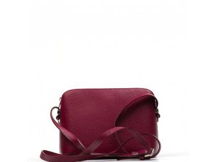 Kožená crossbody kabelka Violeta vínově červená