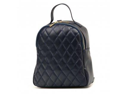 Kožený prošívaný batůžek Odette modrý