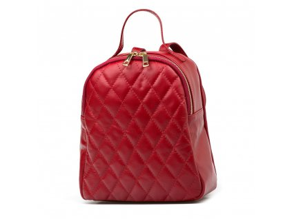 Kožený prošívaný batůžek Odette červený