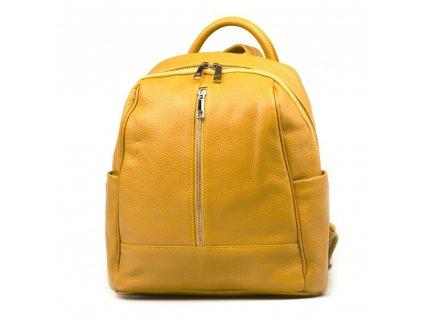 Kožený batůžek Salima hořčicově žlutý