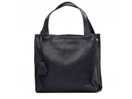 Kožená shopper kabelka Jane tmavě modrá