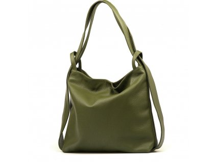 Kožená kabelka - batůžek Giada zelená