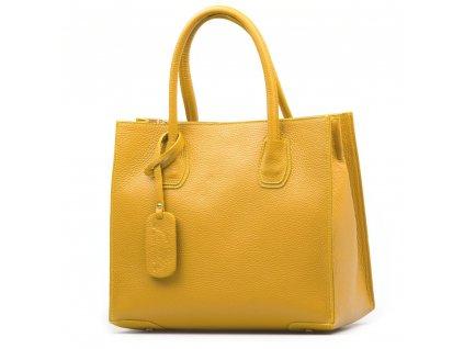 Kožená kabelka Delma hořčicově žlutá