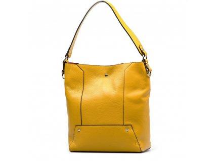 Kožená kabelka Calista s červeným interiérem hořčicově žlutá