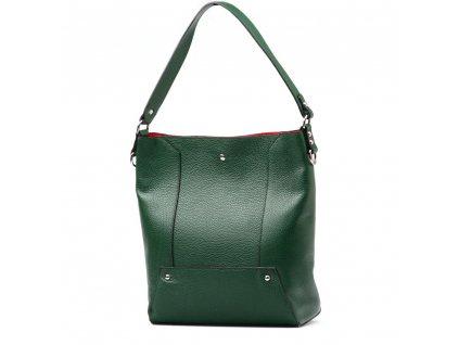 Kožená kabelka Calista s červeným interiérem zelená