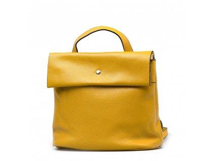 Kožený batůžek Veria hořčicově žlutý
