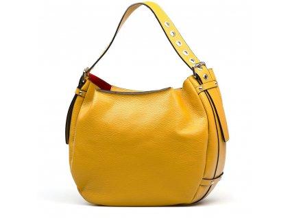 Kožená kabelka Cindra s červenou kapsou hořčicově žlutá