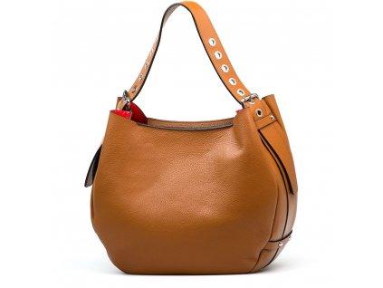 Kožená kabelka Cindra s červenou kapsou koňakově hnědá