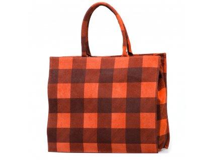 Kožená kabelka s motivem kostky Chiara oranžová