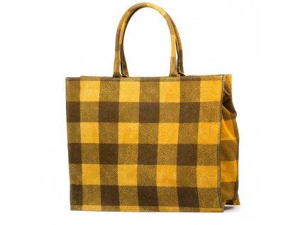 Kožená kabelka s motivem kostky Chiara žlutá