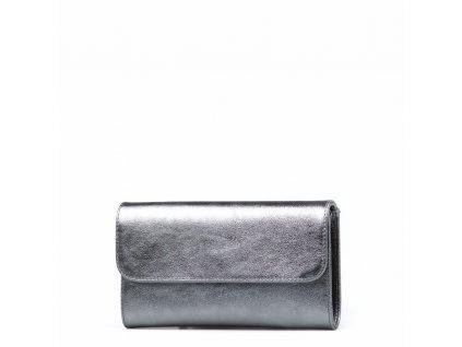 Kožená kabelka - psaníčko Raquel kovově stříbrná