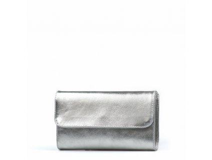 Kožená kabelka - psaníčko Felity stříbrná
