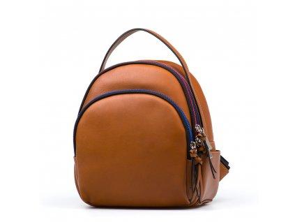 Kožený batůžek s barevnými zipy Nikol koňakově hnědý