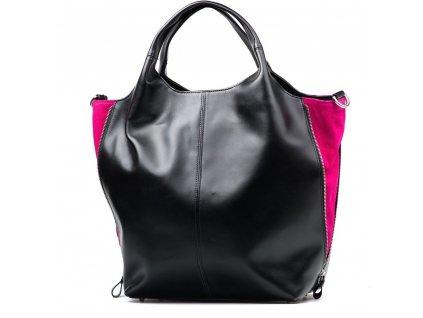 Kožená kabelka Cristy černo - růžová