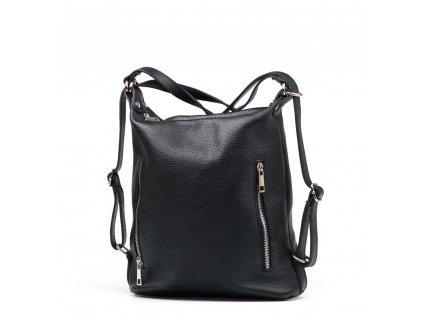 Kožená kabelka - batůžek Nara černá