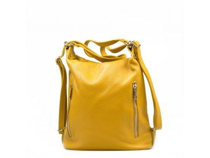 Kožená kabelka - batůžek Nara hořčicově žlutá