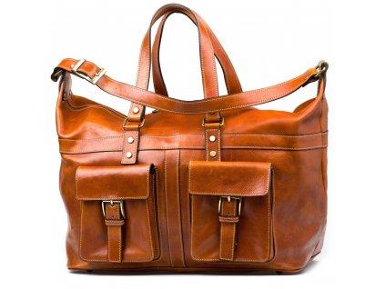 Kožená cestovní taška Erika koňakově hnědá