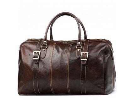 Kožená cestovní taška Milvia tmavě hnědá